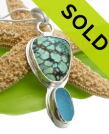 Irregular cut of vivid sea color turquoise and an Ultra Rare Electric aqua from England set in fine silver and sterling.  Stunning vivid sea colors perfect for your summer wardrobe.