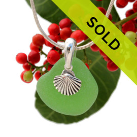 Beach found green sea glass is combined with a solid sterling sea shell charm and presented on an 18 Inch solid sterling snake chain.