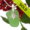This green sea glass necklace with sea turtle charm has sold!