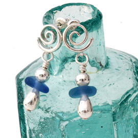 Vivid blue sea glass pieces with sterling details on sterling silver swirl posts