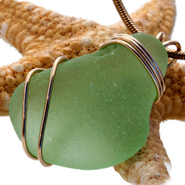 Yellowy Seafoam Green Genuine Sea Glass In Goldfilled Triple Necklace Pendant