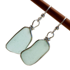 Long large pieces of natural aqua blue sea glass set in our Original Wire Bezel© earring setting. Unaltered genuine sea glass from Spain.