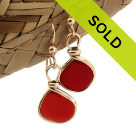 TOP QUALITY Rare Red Genuine Sea Glass in our classic set our Original Wire Bezel© earring setting. Sorry this sea glass jewelry selection has been sold!