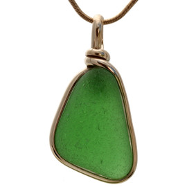 A PERFECT vivid piece of natural Green sea green sea glass in a real simple secure Original Wire Bezel Setting© 14K Goldfilled setting.