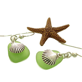 Rare vivid lime or chartreuse sea glass piece set with solid sterling seashell charms. A nice petite pair of earrings.