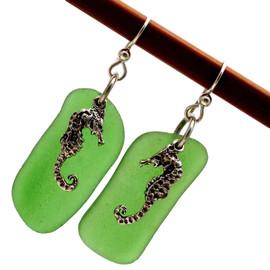 HUGE Green Sea Glass Earrings W/ Large Sterling Sea Horses