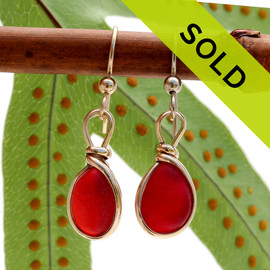 A lovely small pair of Genuine Vivid Red Sea Glass Earrings set in gold in our Original Wire Bezel© setting. Sorry these earrings are no longer for sale