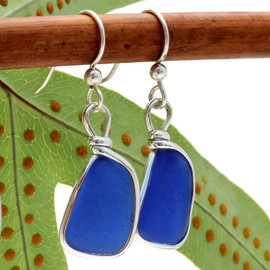 Perfect cobalt blue sea glass pieces set in our Original Wire Bezel© setting.