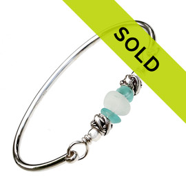Dolphin Lovers - Aqua & White Sea Glass Bangle Bracelet In Sterling W/ Dolphin Beads