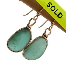 Genuine Beach Found Aqua Green Sea Glass Earrings In Gold Wire Bezel©