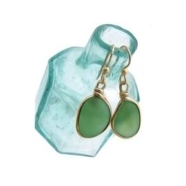 Seaweed Green Sea Glass In Original G/F Wire Bezel© Earrings  Genuine UNALTERED beach found sea glass!