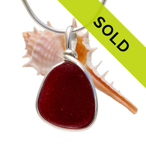 Deep vivid red victorian sea glass necklace pendant in ss original sorry this sea glass jewelry piece has been sold aloadofball Gallery