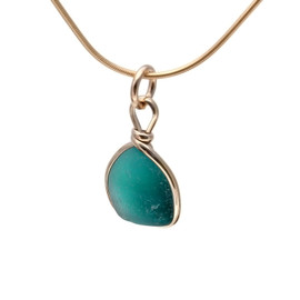 Aqua Green sea glass set in a 14K Goldfilled Original Wire© bezel. Great for any charm bracelet or can be converted to a pendant or anklet. Can also be worn as a pendant as is!