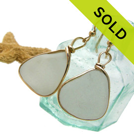 Larger natural UNALTERED white sea glass set in our Original Wire Bezel© setting. Sorry these Sea Glass Earrings have been SOLD!