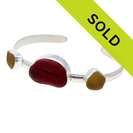 A custom made fine sea glass bracelet using our sea glass in customer preferred colors of red and golden yellow