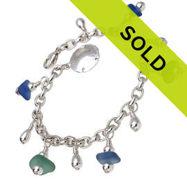 Summer Beach Lover - All Genuine Sea Glass All Sterling Charm Bracelet In Bright Blue & Aqua Green