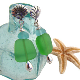 These stunning aqua sea glass pieces are from Hawaii. This is the EXACT pair you will receive!