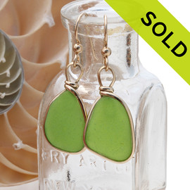 Unusual Genuine beach found lime green sea glass earrings in a 14K Rolled Gold Original Wire Bezel setting. Sorry this Sea Glass Jewelry selection has been SOLD!