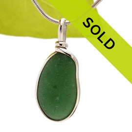 Seaweed Green Sea Glass Sterling Wire Bezel© Setting Pendant