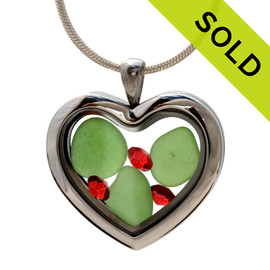 Green sea glass and vivid bright red and intense green gemstones make this a great heart locket necklace for the holidays, Sorry this Sea Glass Jewelry selection has been SOLD!
