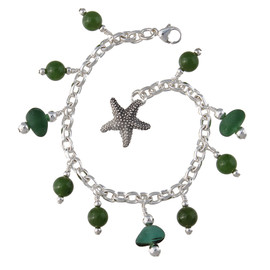 3 pieces of green genuine beach found sea glass combined with solid sterling beach inspired charm in a totally solid sterling silver bracelet. Chinese Jade makes this a special piece!