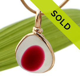 A larger piece of stunning mixed hot pink and pure white English sea glass from Seaham England set in our Original Wire Bezel© necklace pendant setting in gold. Sorry this ultra rare sea glass jewelry piece has been sold!