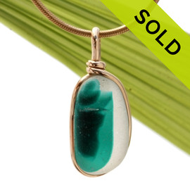 This is a stunning piece of longer mixed teal green EndODay sea glass set in our Original Wire Bezel© pendant setting in gold. Classic and timeless. SOLD - Sorry this Ultra Rare Sea Glass Jewelry selection is NO LONGER AVALABLE!