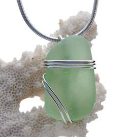 Vivid Yellowy Sea Green Sea Glass In Sterling Triple Setting Pendant