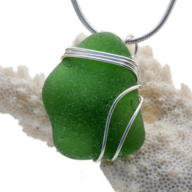 A larger perfect piece of vivid green sea glass set in our triple sterling silver pendant setting.
