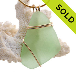 Large Sea Green Sea Glass In Gold Triple Wrapped Pendant, a nice vivid yellowy seafoam green. SOLD - Sorry this Sea Glass Jewelry piece is NO LONGER AVAILABLE!