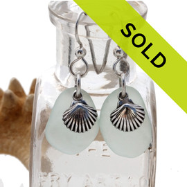 Pale aqua green sea glass earrings in sterling with sterling shell charms