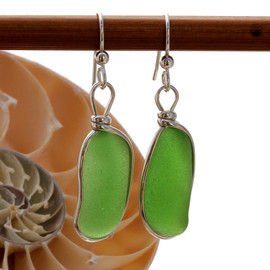 Perfect natural long thick sea glass pieces set in our Original Wire Bezel© earring setting.