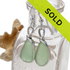Top Quality pieces of all natural genuine sea glass in a bright seafoam green and set in our original Wire Bezel© Sea Glass Earring Setting.  Sorry this sea glass jewelry selection has been sold