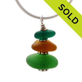 "Vivid Green & Amber English Sea Glass Stack - 18"" Solid Stelring CHAIN INCLUDED"