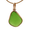 Stunning vivid beach found bright green sea glass set in an elegant timeless setting.