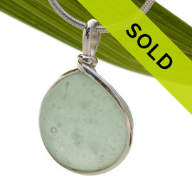 Bubbled Seafoam Green Beach Found Sea Glass Sterling Wire Bezel© Pendant