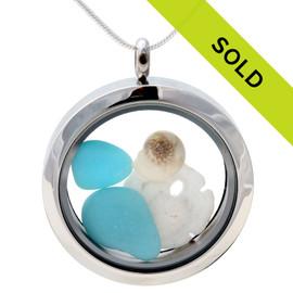 Ultra Rare Electric Opaque Sea Glass Sandollar Locket