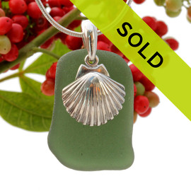 Beach found green sea glass is combined with a solid sterling large shell and presented on an 18 Inch solid sterling snake chain. Sorry this sea glass jewelry piece has been sold!