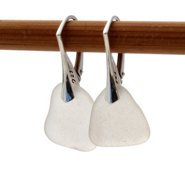 Shaped only by the sea, these natural sea glass pieces really glow hanging from these solid sterling silver leverbacks. Pure winter white! A great color of sea glass jewelry that will go with everything!