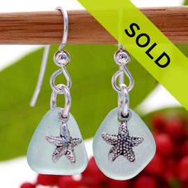 A TOP quality pair of Pale Aqua Blue Genuine Certified Sea Glass earrings With Starfish Charms Sorry these sea glass earrings have been sold!