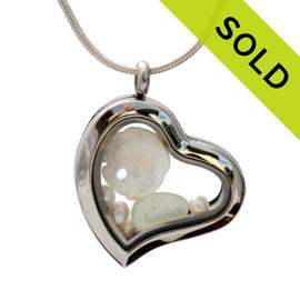 Sea Green Love -  Seafoam Green Beach Found Sea Glass Heart Locket Necklace