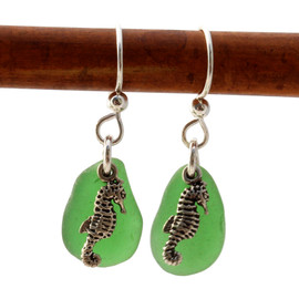 A simple pair of genuine green sea glass earrings, great for any true beach lover!~