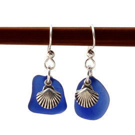 Genuine Beach Found Blue Sea Glass Earrings On Sterling W/ Sea Shell Charms A simple pair of genuine sea glass earrings, great for any true beach lover!~
