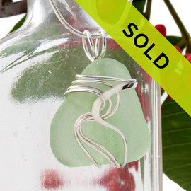 Sea Green Genuine Sea Glass In Sterling Waves© Setting Pendant for Necklace
