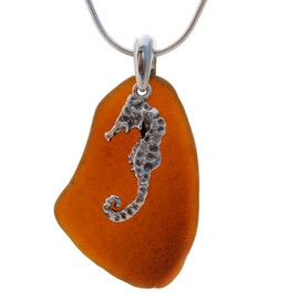 "LARGE Vivid Amber sea glass set on a solid sterling cast bail with a sterling silver Seahorse charm. The sea glass necklace comes on our 18"" solid sterling smooth snake chain (SHOWN and included)"