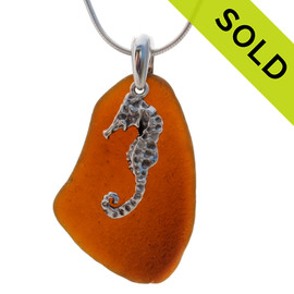LARGE Vivid Amber sea glass set on a solid sterling cast bail with a sterling silver Seahorse charm. SOLD - Sorry This Sea Glass Necklace Is NO LONGER AVAILABLE!