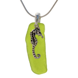 Beach found lime green or chartreuse sea glass is combined with a solid sterling large seahorse charm and presented on an 18 Inch solid sterling snake chain.