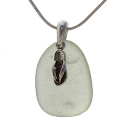 "Pale Sea Green sea glass set on a solid sterling cast bail with a sterling silver Flip Flop charm. The sea glass necklace comes on our 18"" solid sterling smooth snake chain (SHOWN and included)"