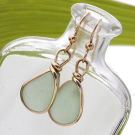 Natural Genuine UNALTERED sea glass pieces in a petite seafoam green expertly wrapped in 14K Rolled Gold for a lovely classic pair or earrings!