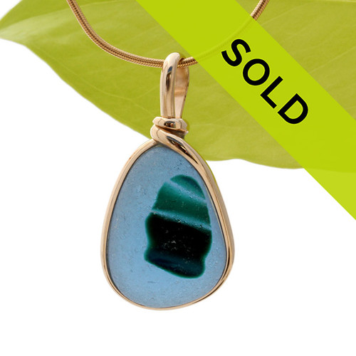 This is a stunning piece of longer mixed blue and green EndODay sea glass set in our Original Wire Bezel© pendant setting in gold. Classic and timeless. Sorry this sea glass jewelry selection has been sold!